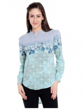 Blu Finch Casual Full Sleeve Floral Print Women Green Top