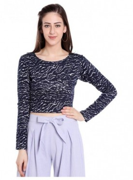 Blu Finch Casual Full Sleeve Printed Women's Blue Top