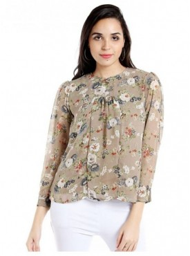 Blu Finch Casual Full Sleeve Floral Print Women Beige Top