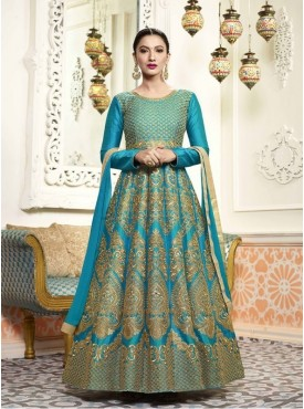 Roykals Textile Silk Teal Green Designer Embroidered Suit