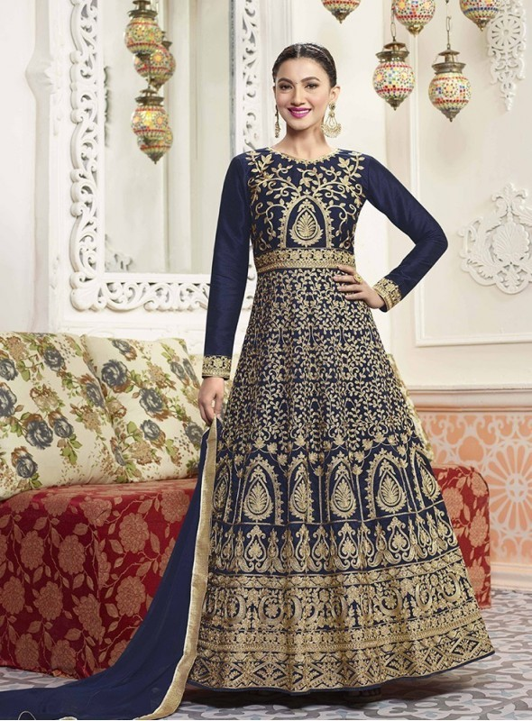 Roykals Textile Silk Light Blue Designer Embroidered Suit