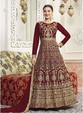 Roykals Textile Silk Maroon Designer Embroidered Suit