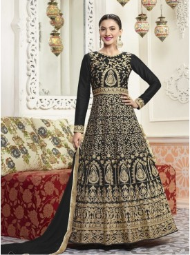 Roykals Textile Silk Black Designer Embroidered Suit