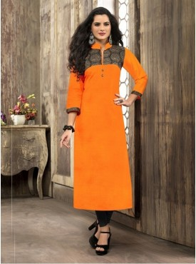 Roykals Textile Orange Printed Readymade Kurti