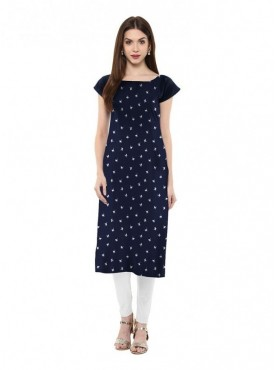 Trend Factory Women's Straight Blue Colored Cap Sleeve And Boat Neck Crepe Kurti