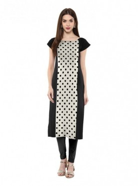 Trend Factory Women's Straight White Colored Cap Sleeve And Boat Neck Crepe Kurti