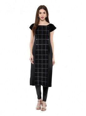 Trend Factory Women's Straight Black Colored Cap Sleeve And Boat Neck Crepe Kurti