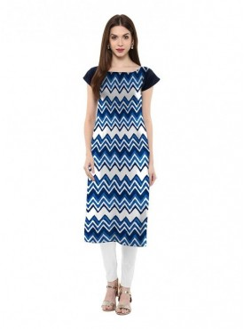Trend Factory Women's Straight Multi Colored Cap Sleeve And Boat Neck Crepe Kurti