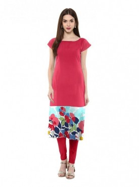 Trend Factory Women's Straight Pink Colored Cap Sleeve And Boat Neck Crepe Kurti