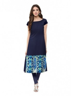 Trend Factory Women's Straight Blue Colored Cap Sleeve And Boat Neck Kurti