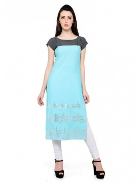 Trend Factory Women's Straight Sky Blue Colored Cap Sleeve And Boat Neck Kurti