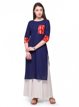Trend Factory Blue Cotton Kurta with Red Printed Pocket