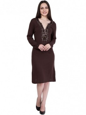 Alvenda Women's Brown Full Sleeve Knee Length Dress