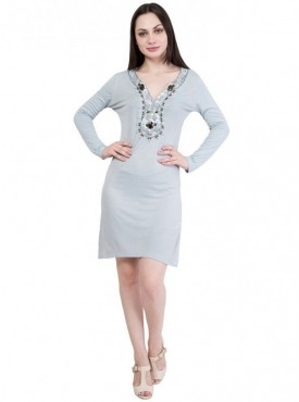Alvenda Women's Grey Full Sleeve V Neck Midi Dress