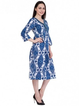 Alvenda Women's Light Blue 3/4 length sleeve Printed Cotton Dress