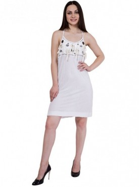 Alvenda Women's White Sleeveless Viscose Dress