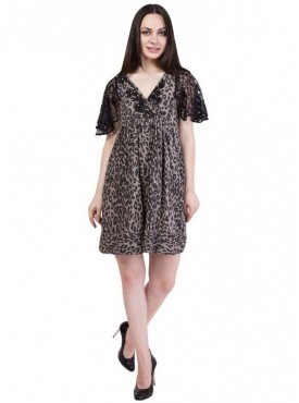 Alvenda Women's Animal Printed Short Sleeve V Neck Dress