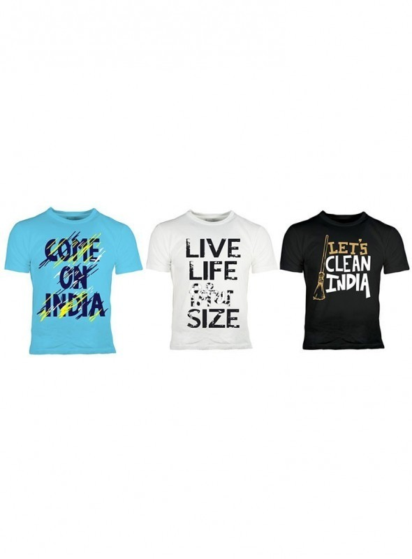 Oneliner Men's Cotton T-shirt- Combo pack of 3