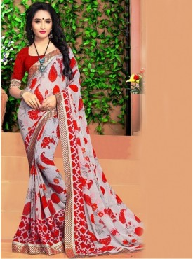 Rinky Fashion Georgette Red Printed Saree