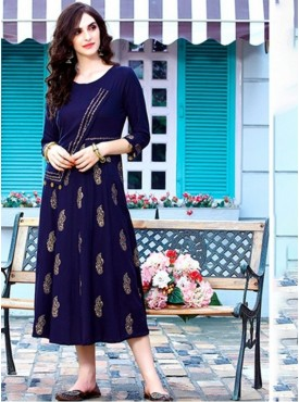 Rinky Fashion Rayon Ink Blue Stitched Kurti