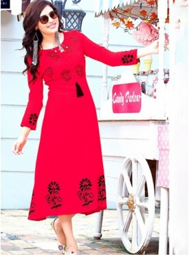 Rinky Fashion Rayon Red Stitched Kurti
