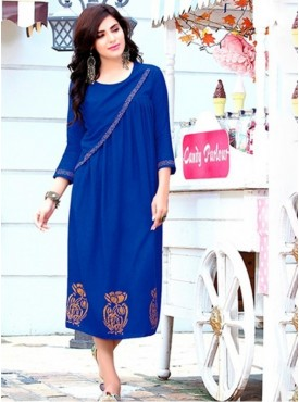 Rinky Fashion Rayon Royal Blue Stitched Kurti
