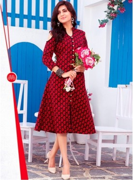 Rinky Fashion Cotton Red Stitched Kurti