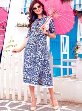 Rinky Fashion Cotton Blue Stitched Kurti