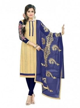 Aasvaa Cotton Beige Color Salwar Suit