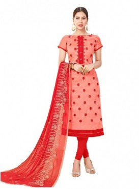 Aasvaa Cotton Peach Color Salwar Suit