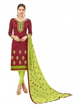 Aasvaa Cotton Maroon Color Salwar Suit
