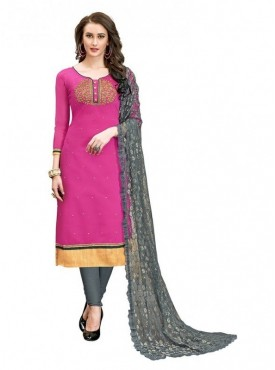 Aasvaa Cotton Pink Color Salwar Suit