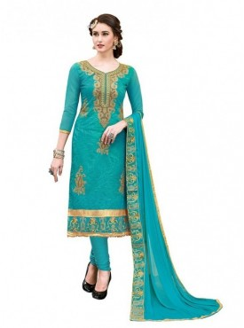 Aasvaa Cotton Sea Green Color Salwar Suit