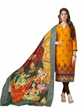 Aasvaa Cotton Yellow Color Salwar Suit