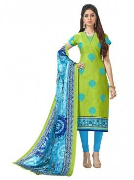 Aasvaa Cotton Green Color Salwar Suit