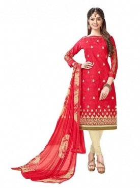 Aasvaa Cotton Red Color Salwar Suit