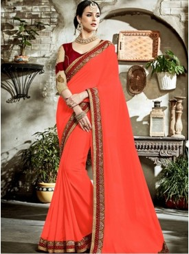 Roykals Textile Banglory Peach Color Saree