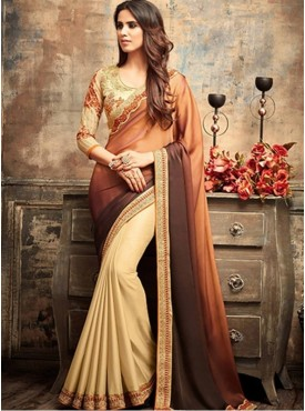 Roykals Textile Brown Embroidered Saree