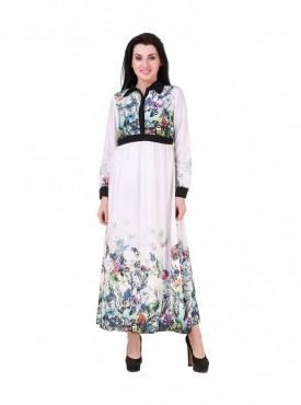 Women Full Sleeves Crape Printed Dress