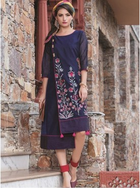 Rinky Fashion Ink Blue Chanderi Stitched Kurti