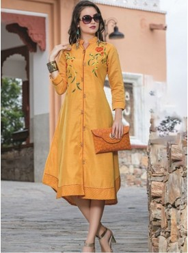 Rinky Fashion Light Orange Chanderi Stitched Kurti