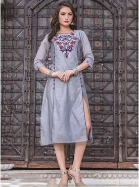 Rinky Fashion Grey Chanderi Stitched Kurti