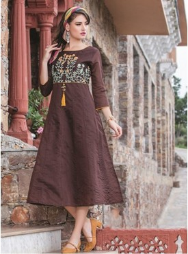 Rinky Fashion Coffee Chanderi Stitched Kurti