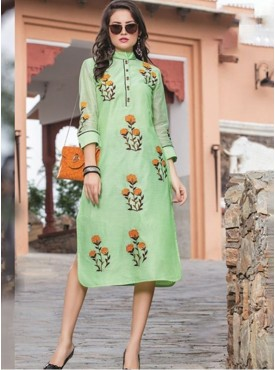 Rinky Fashion Pista Green Chanderi Stitched Kurti