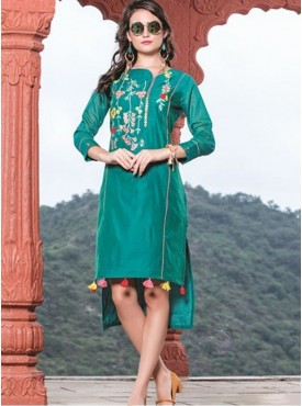 Rinky Fashion Teal Blue Chanderi Stitched Kurti
