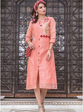 Rinky Fashion Peach Chanderi Stitched Kurti
