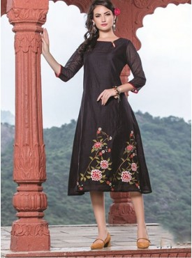 Rinky Fashion Black Chanderi Stitched Kurti