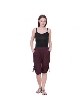 THE RUNNER Burgundy Cotton Capri