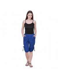 THE RUNNER Royal Blue Cotton Capri