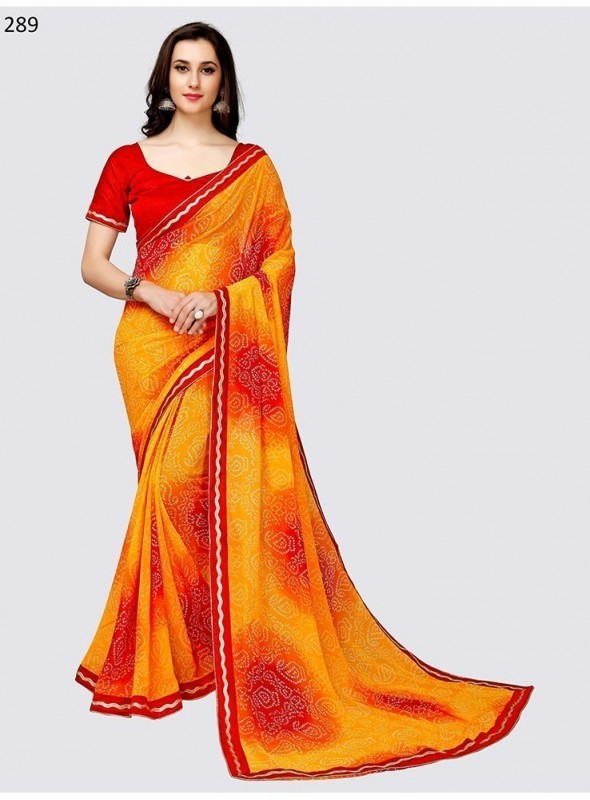 Khushbu Fashion Weightless Georgette Embroidery Work Or Lace Border Work+Print Saree